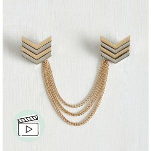 Modcloth Gold Silver Chevron Chained Collar Pins